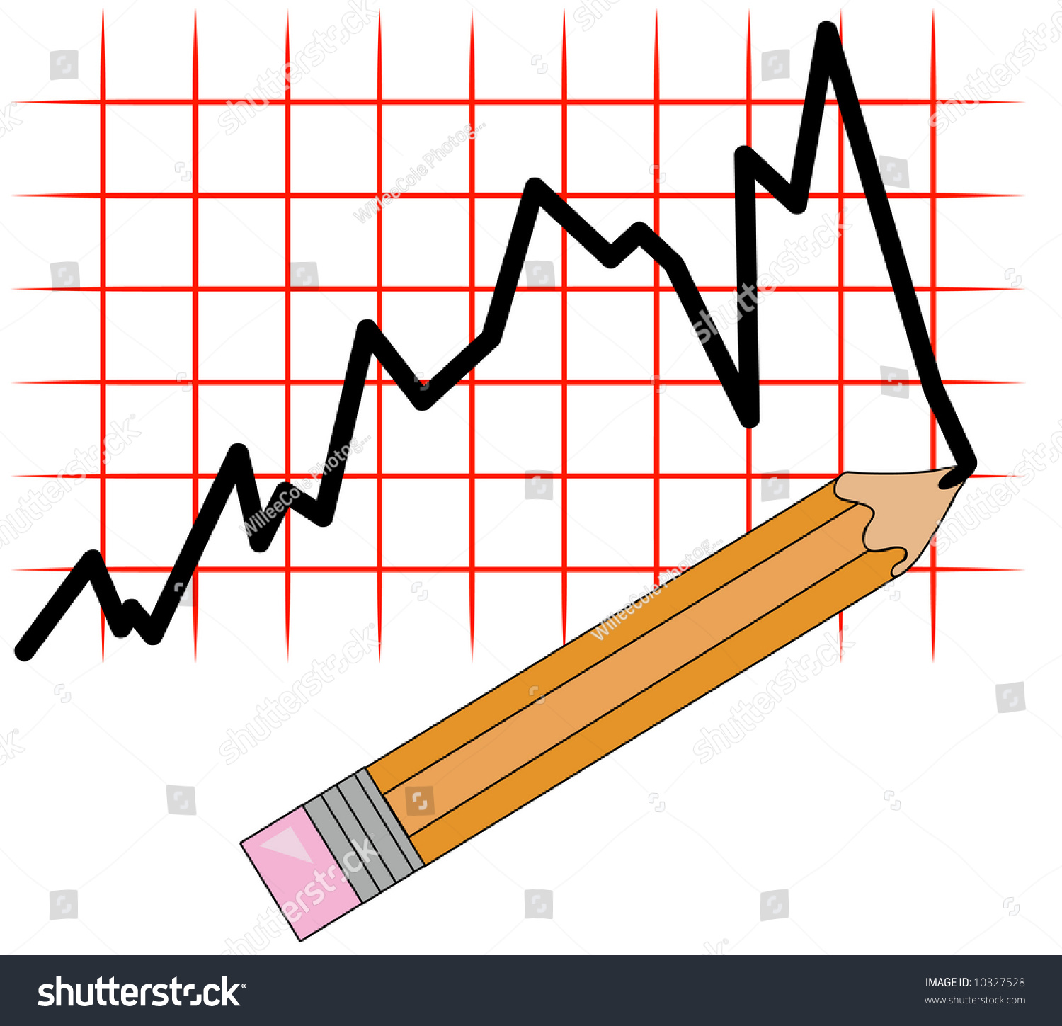 Drawing Line Graphs By Hand : Pencil drawing line graph on grid stock photo
