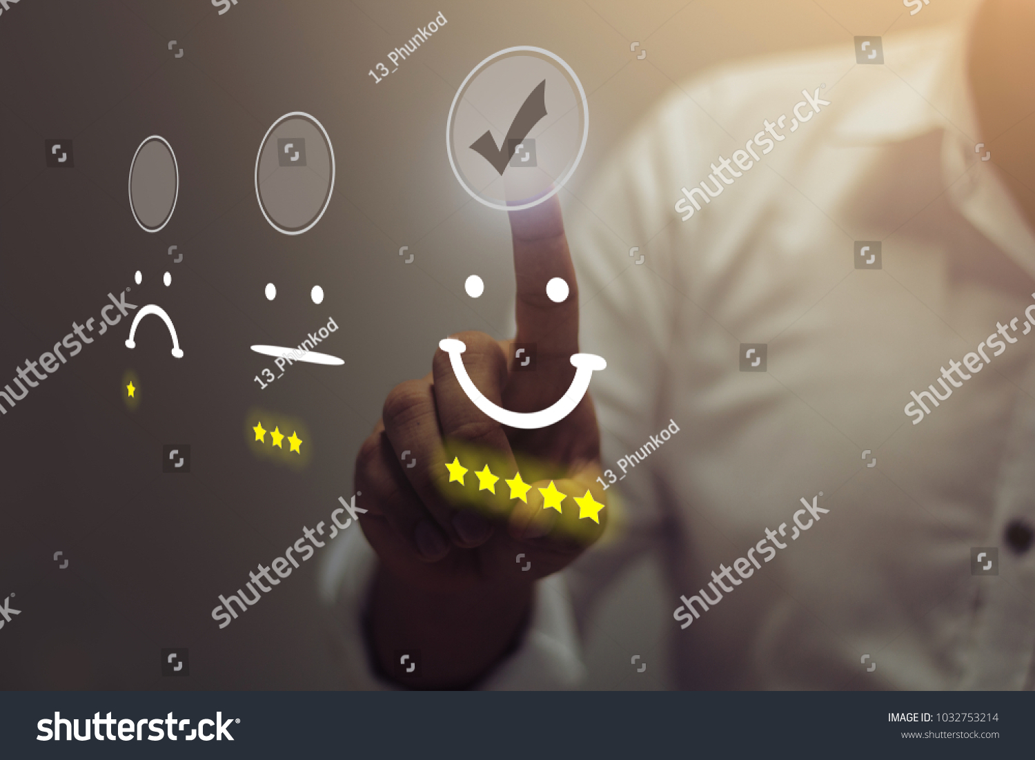 Businessman pressing smiley face emoticon on virtual touch screen. Customer service evaluation concept. #1032753214