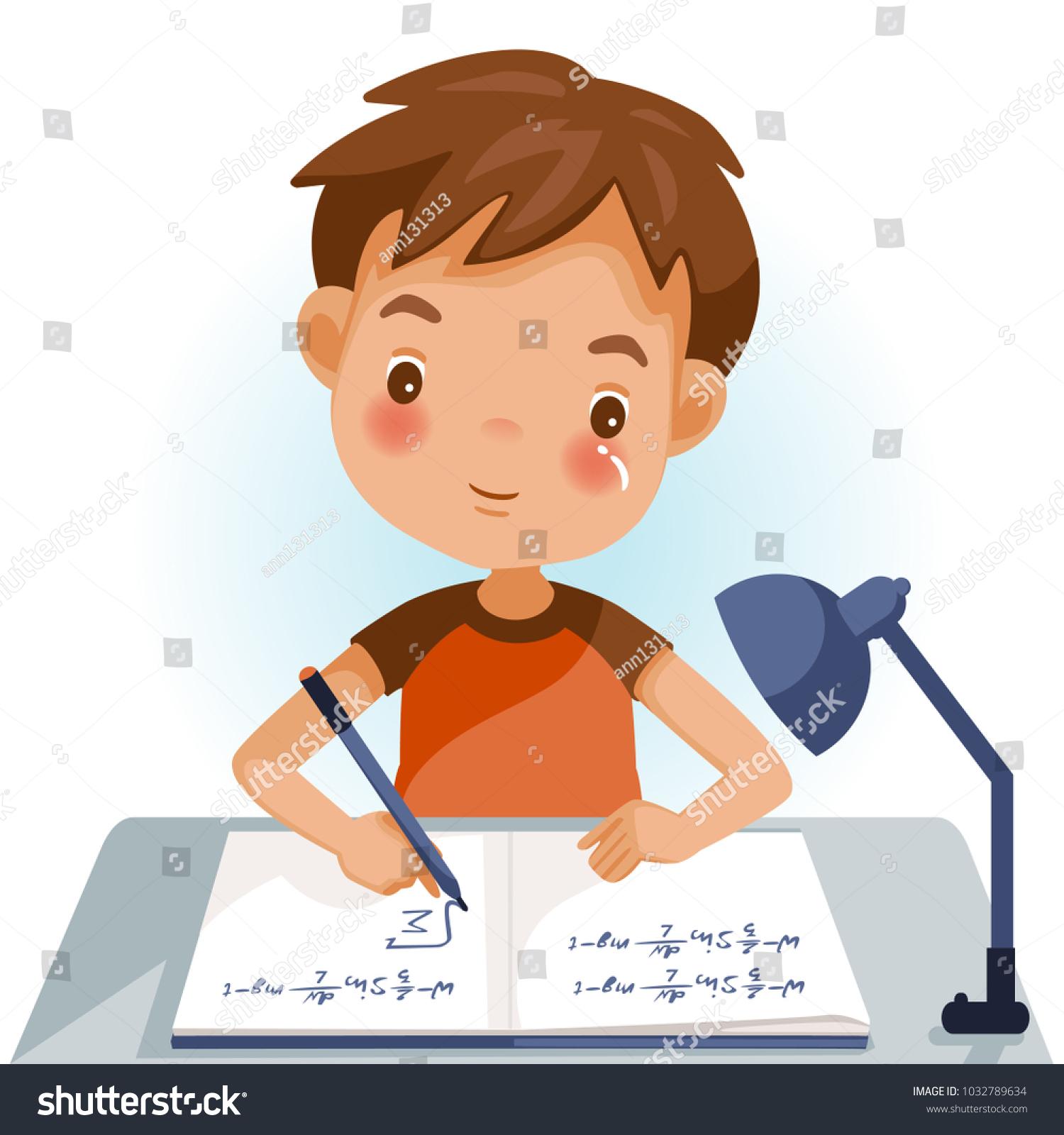 Boys Writing Kids Doing Homework Maths Stock Vector (2018 ...