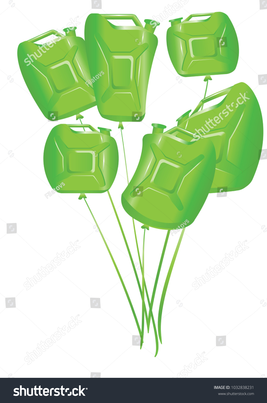 Balloons Greeting Cards Gas Station Employees Stock Vector