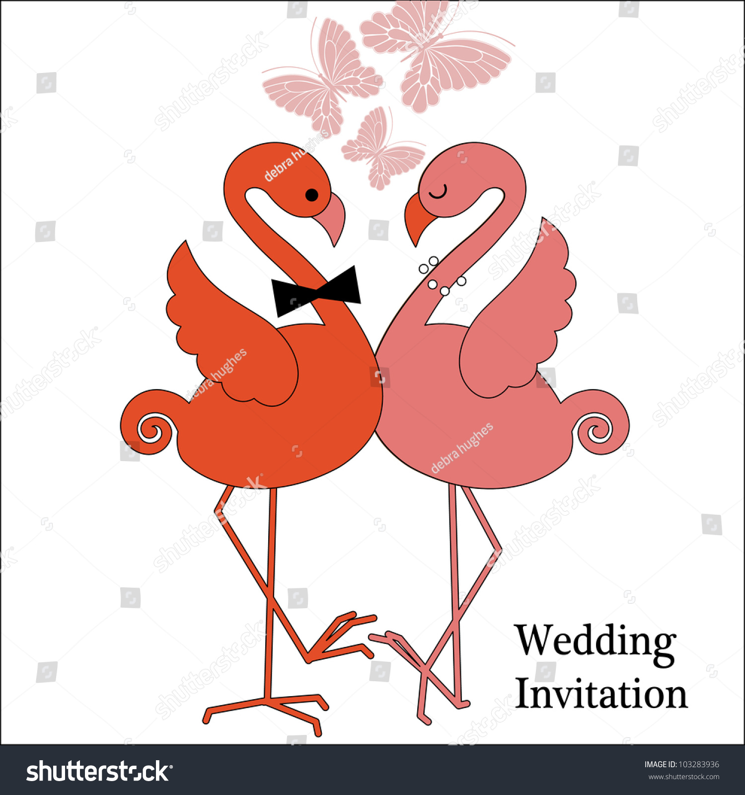 Flamingo Wedding Invitation Stock Vector (Royalty Free) 103283936 ...