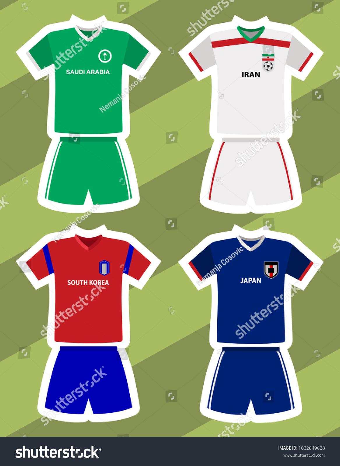3493f1184 saudi arabia, iran, south korea and japan football or soccer jersey