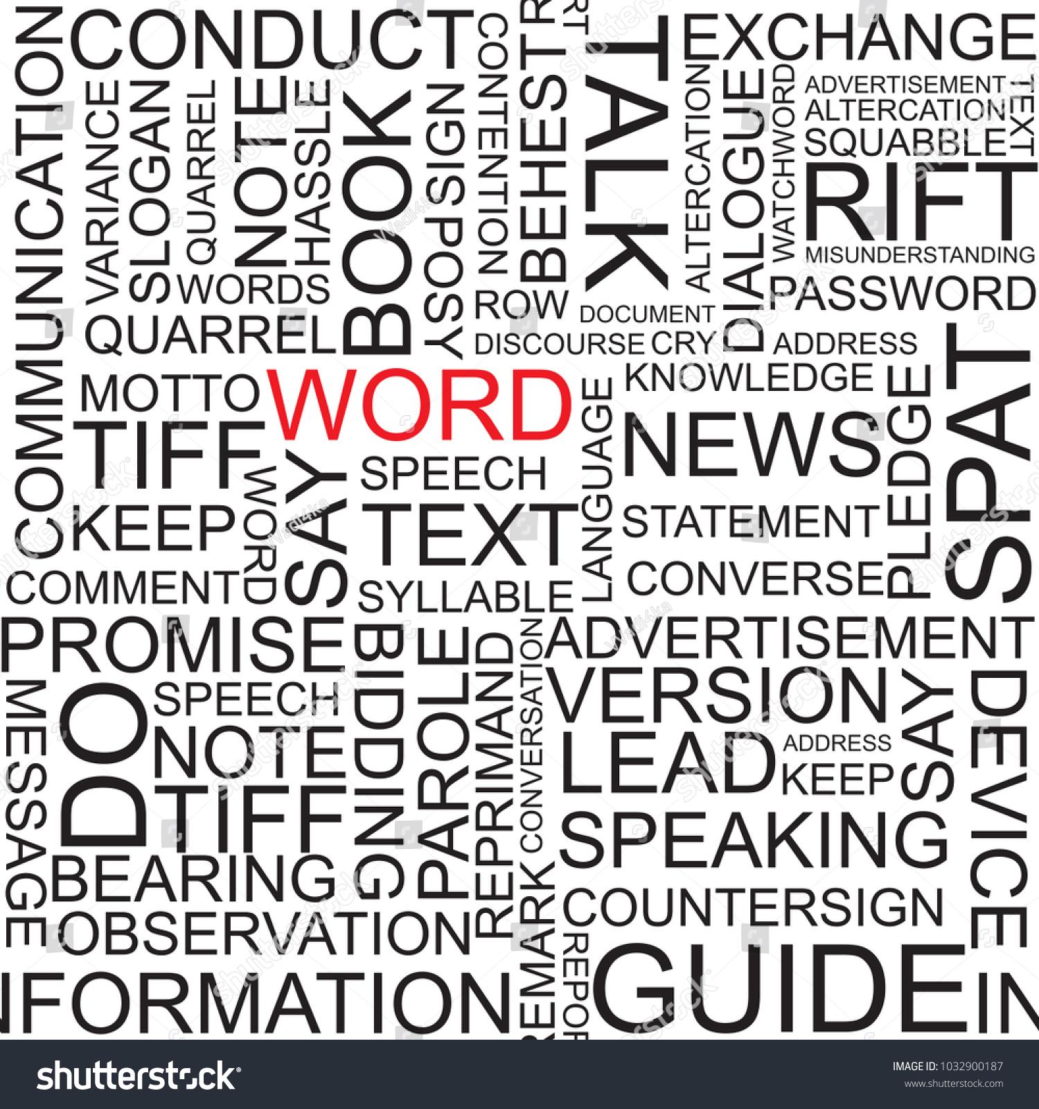 WORD Vector Pattern Word Cloud Illustration Stock Vector