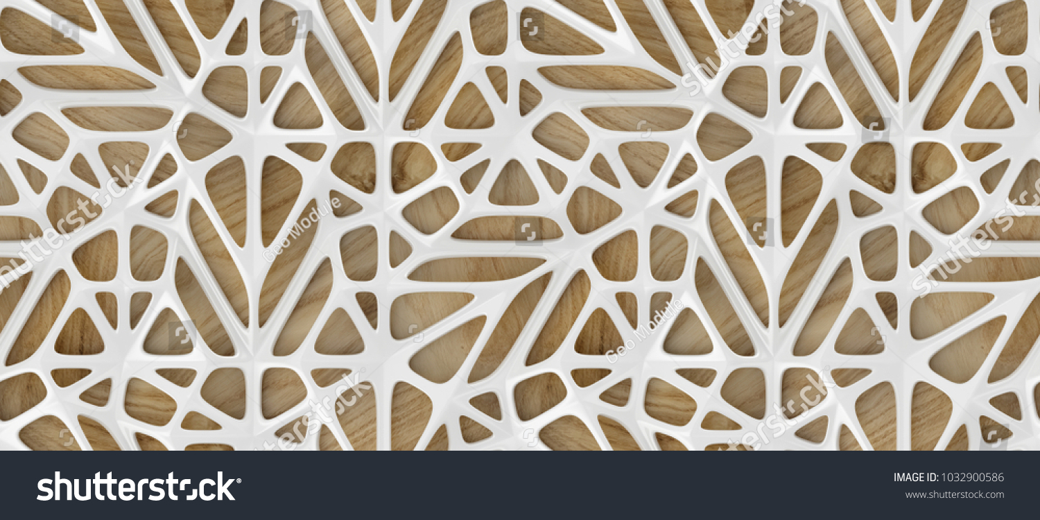3d white lattice tiles on wooden oak background. High quality seamless realistic texture.