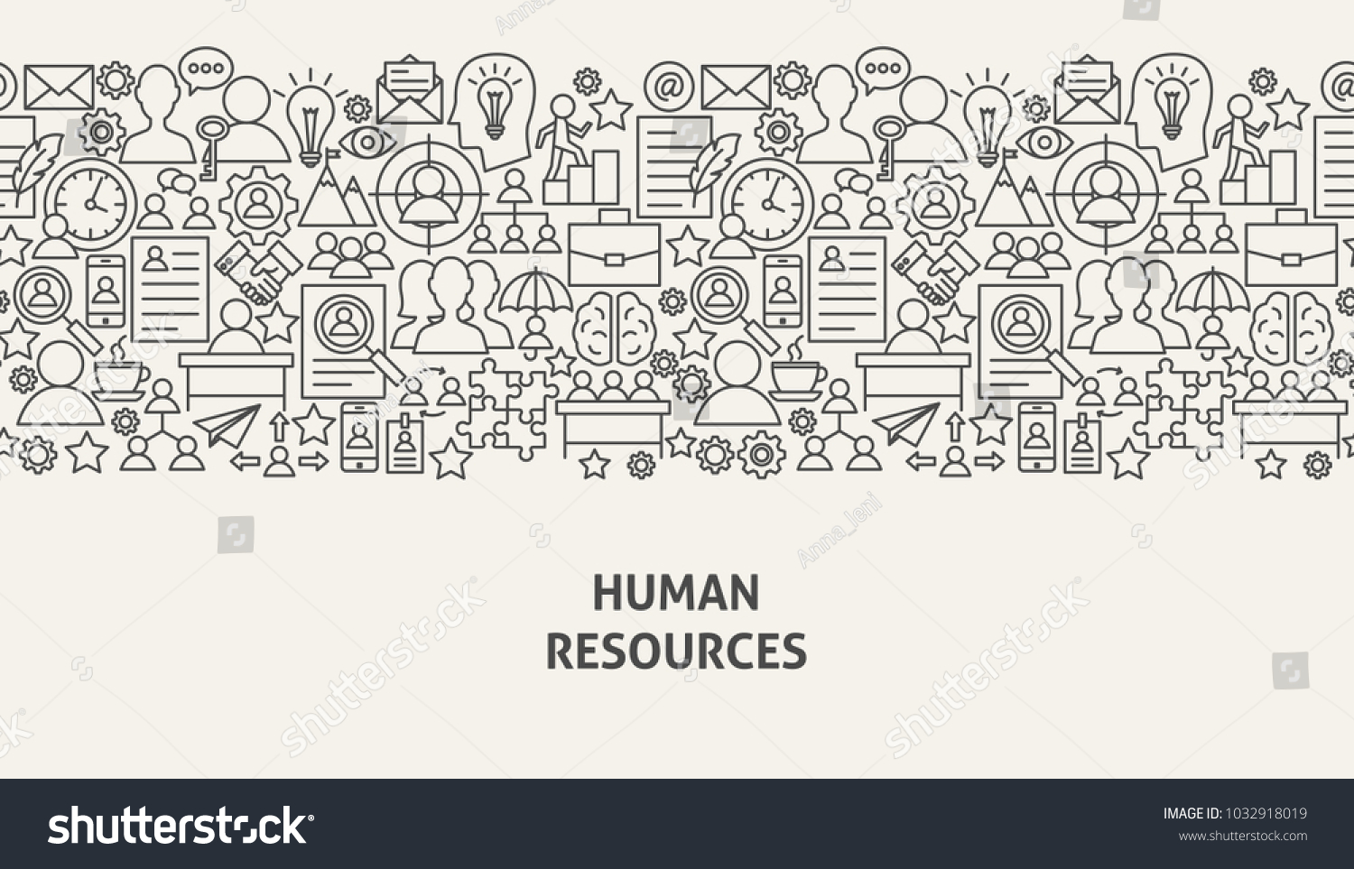 Human Resources Banner Concept Vector Illustration Stock Vector ...