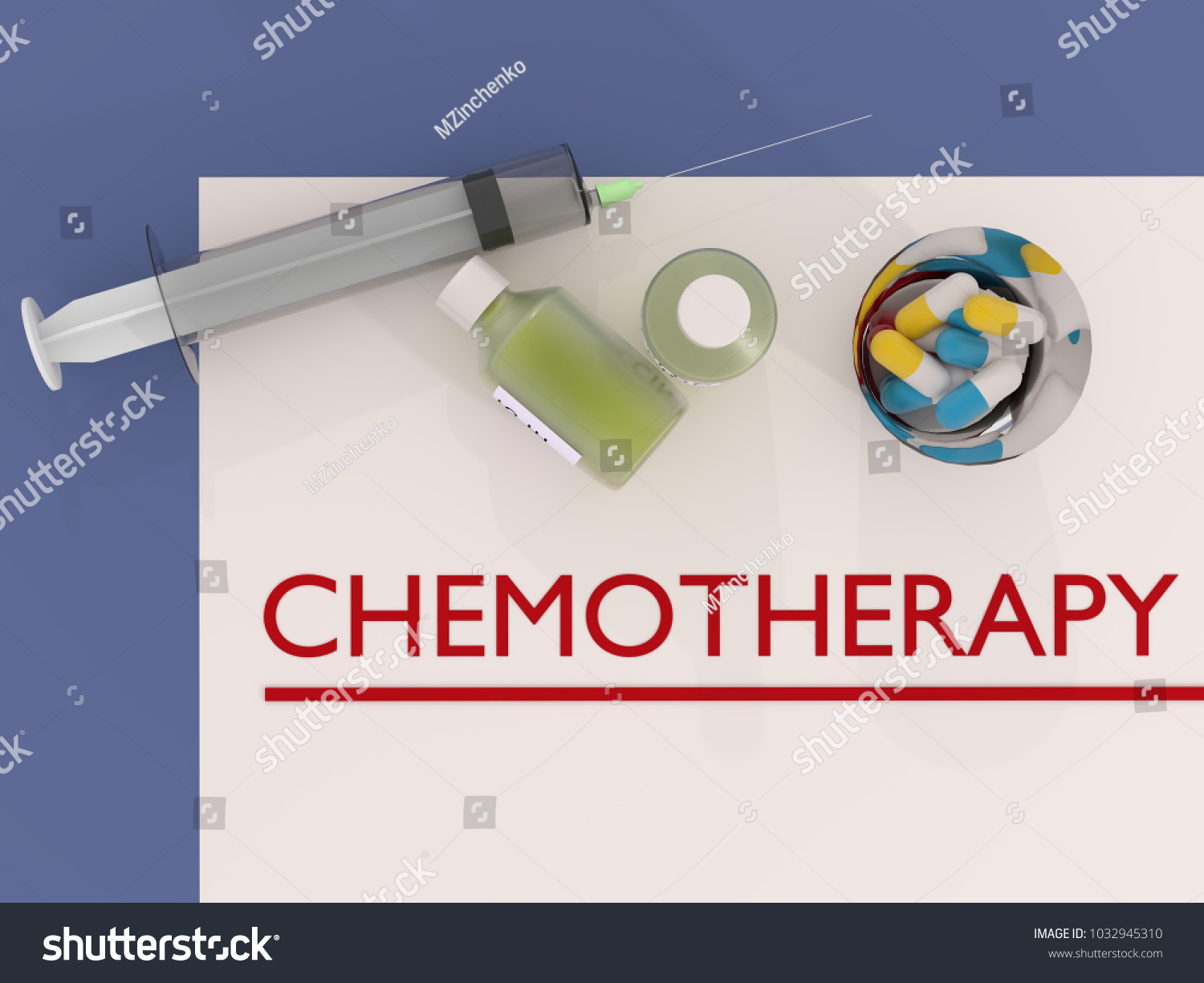 chemotherapy prescription with pills and syringe 3d illustration