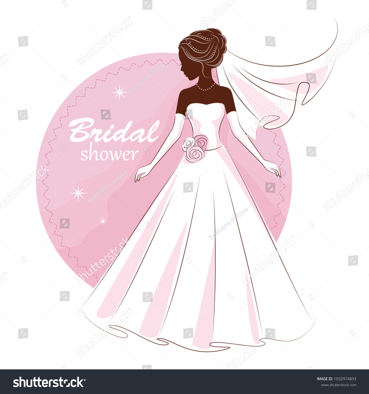 Bridal Shower Invitation Young Beautiful Bride Stock Vector
