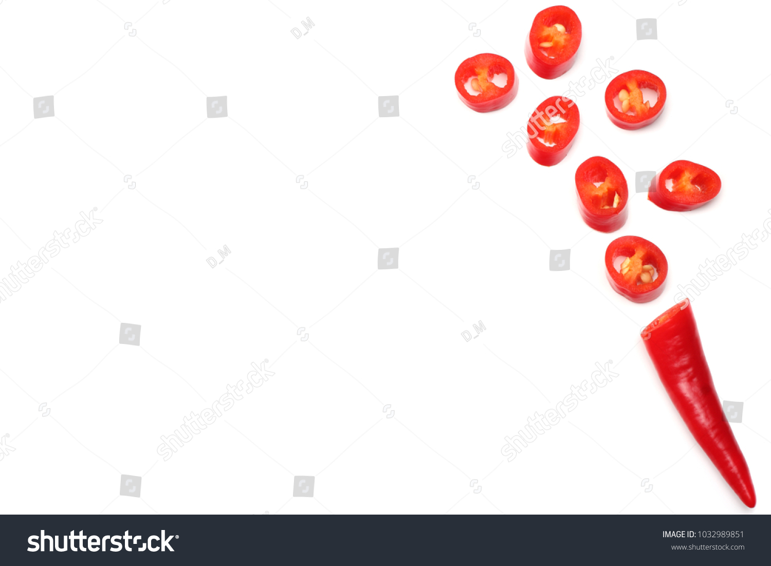 sliced red hot chili peppers isolated on white background top view #1032989851