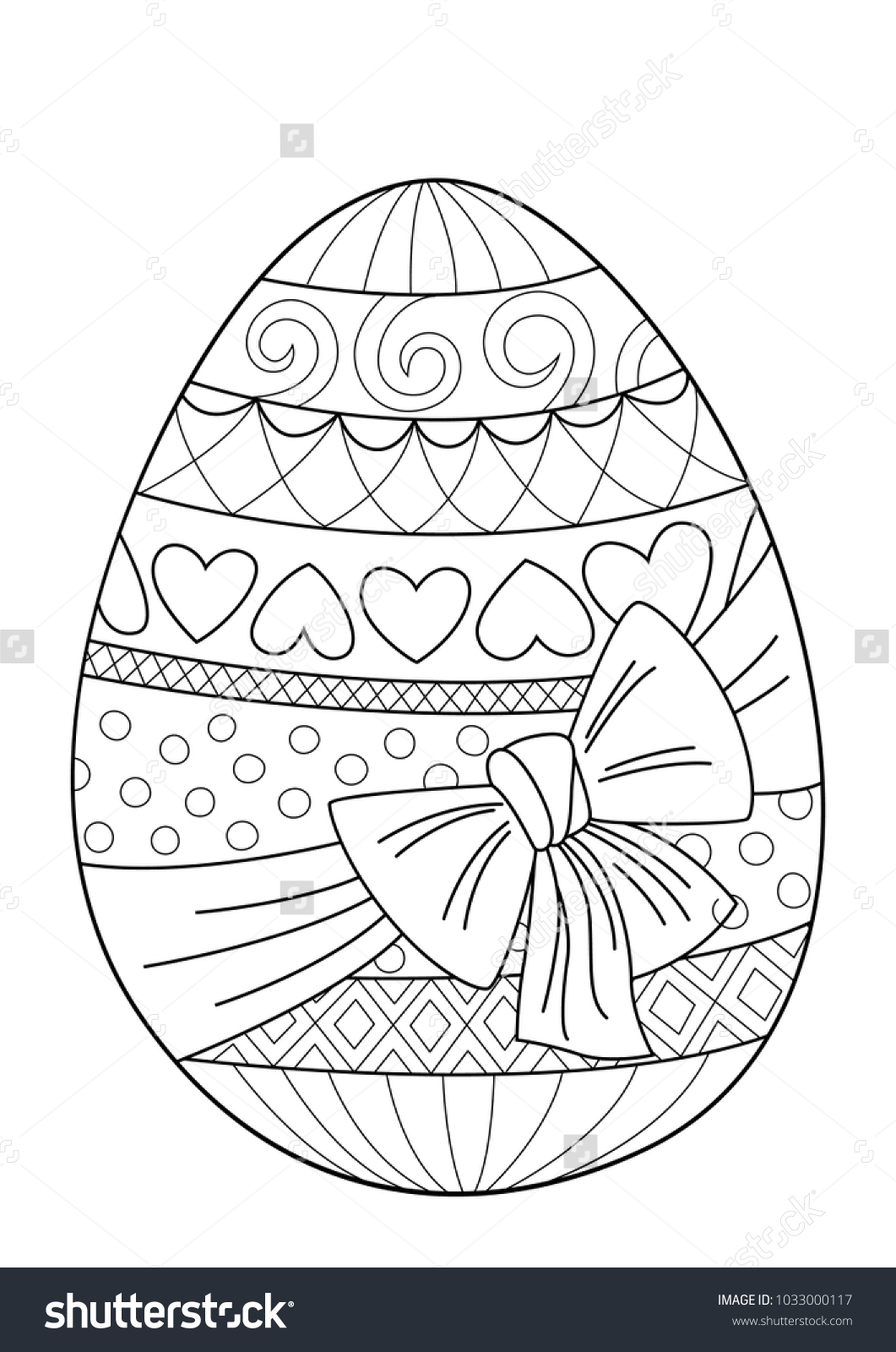 Doodle Coloring Book Page Easter Egg Stock Vector Royalty Free ...