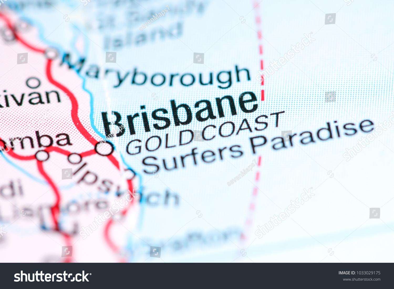 Gold Coast Australia On Map Stock Photo Edit Now 1033029175