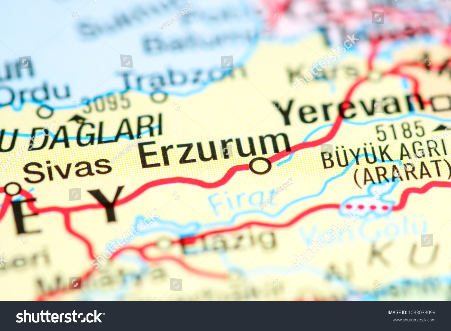 Erzurum Turkey On Map Stock Photo 1033033099 Shutterstock