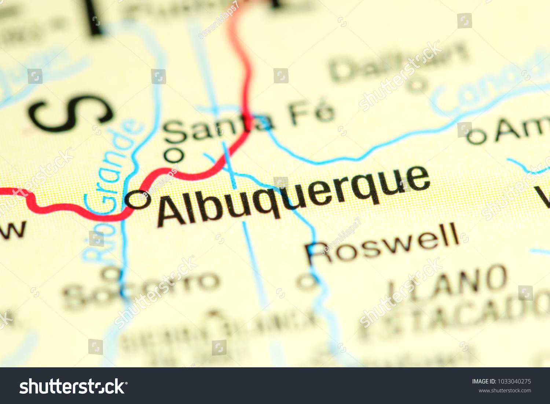 Albuquerque New Mexico USA On Map Stock Photo (Edit Now) 1033040275 on
