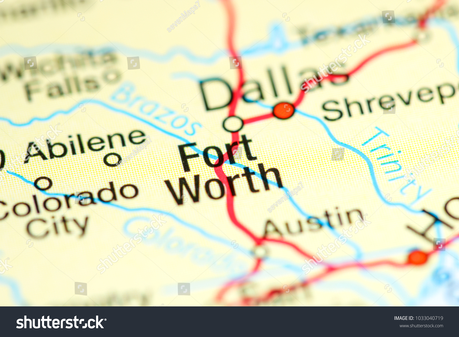 Fort Worth Texas Usa On Map Stock Photo Edit Now 1033040719
