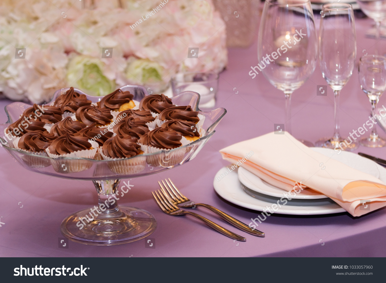 Modern Wedding Decor Dishes White Bouquets Stock Photo Edit Now