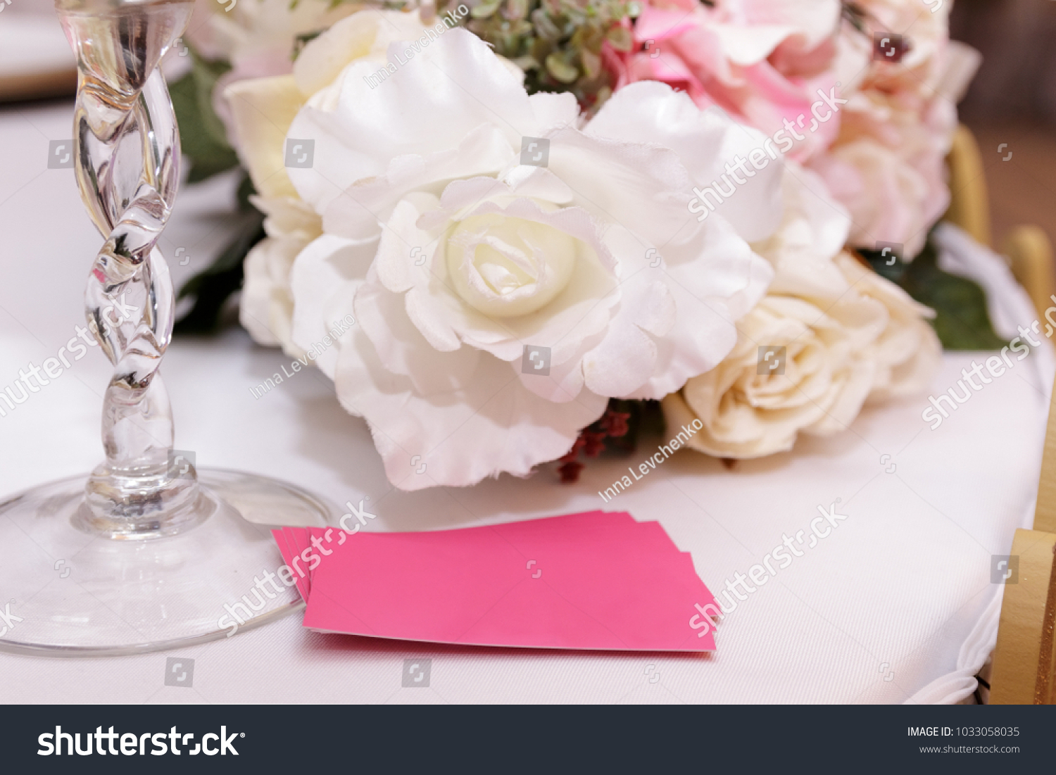 On White Wedding Table Bouquet Flowers Stock Photo Edit Now