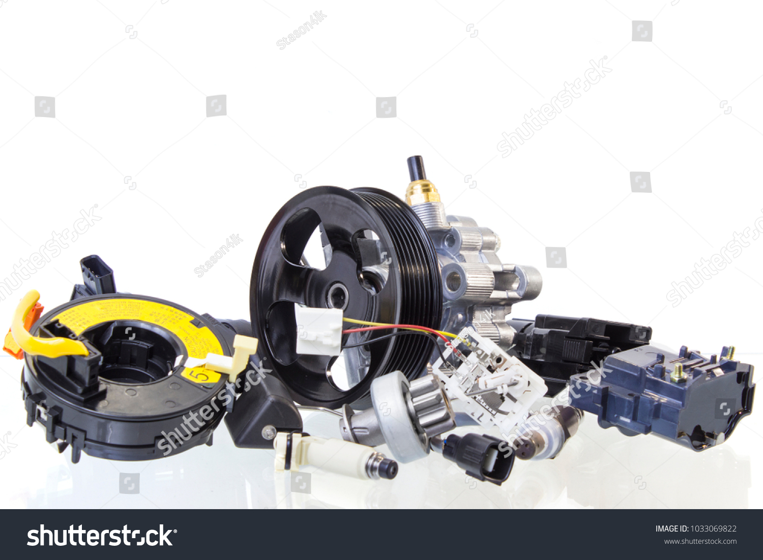 Group Automobile Engine Parts Isolated On Stock Photo 1033069822 ...