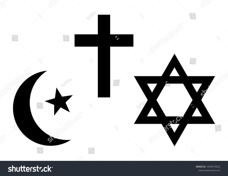 Three world religions symbols islam christianity stock vector three world religions symbols islam christianity and judaism black silhouette vector illustration biocorpaavc Images