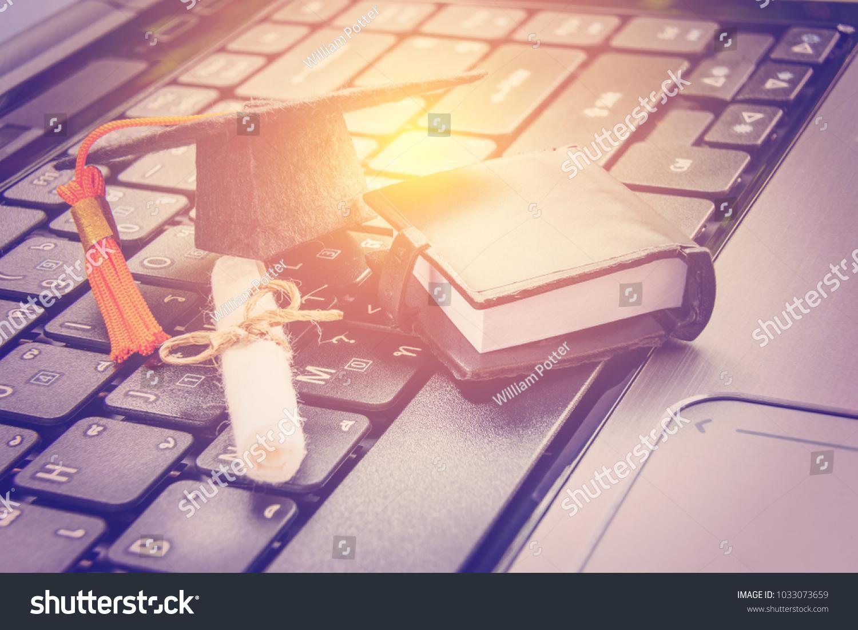 Online Learning Elearning Online Graduate Certificate Stock Photo