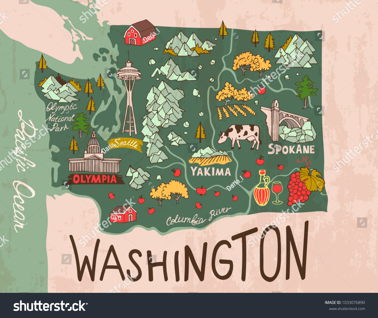 Cartoon Map Washington State Travel Attractions Stock Vector Royalty Free 1033076890