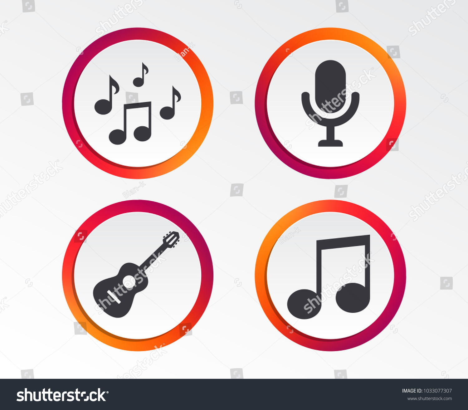 Music Icons Microphone Karaoke Symbol Music Stock Vector Royalty