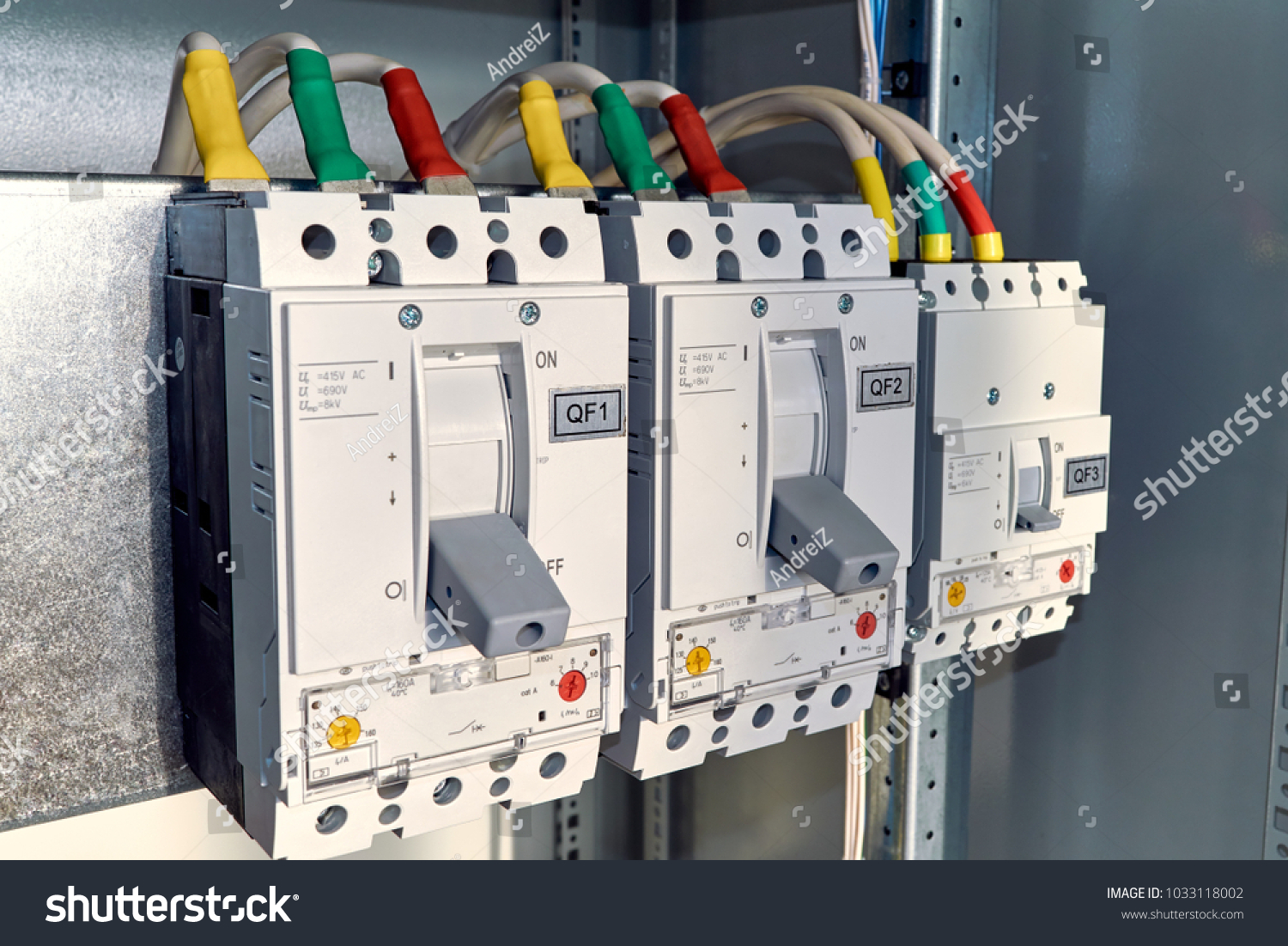 Power Circuit Breakers Arranged Row Electric Stock Photo Edit Now Electrical Are In A An Cabinet Cables Or Marked