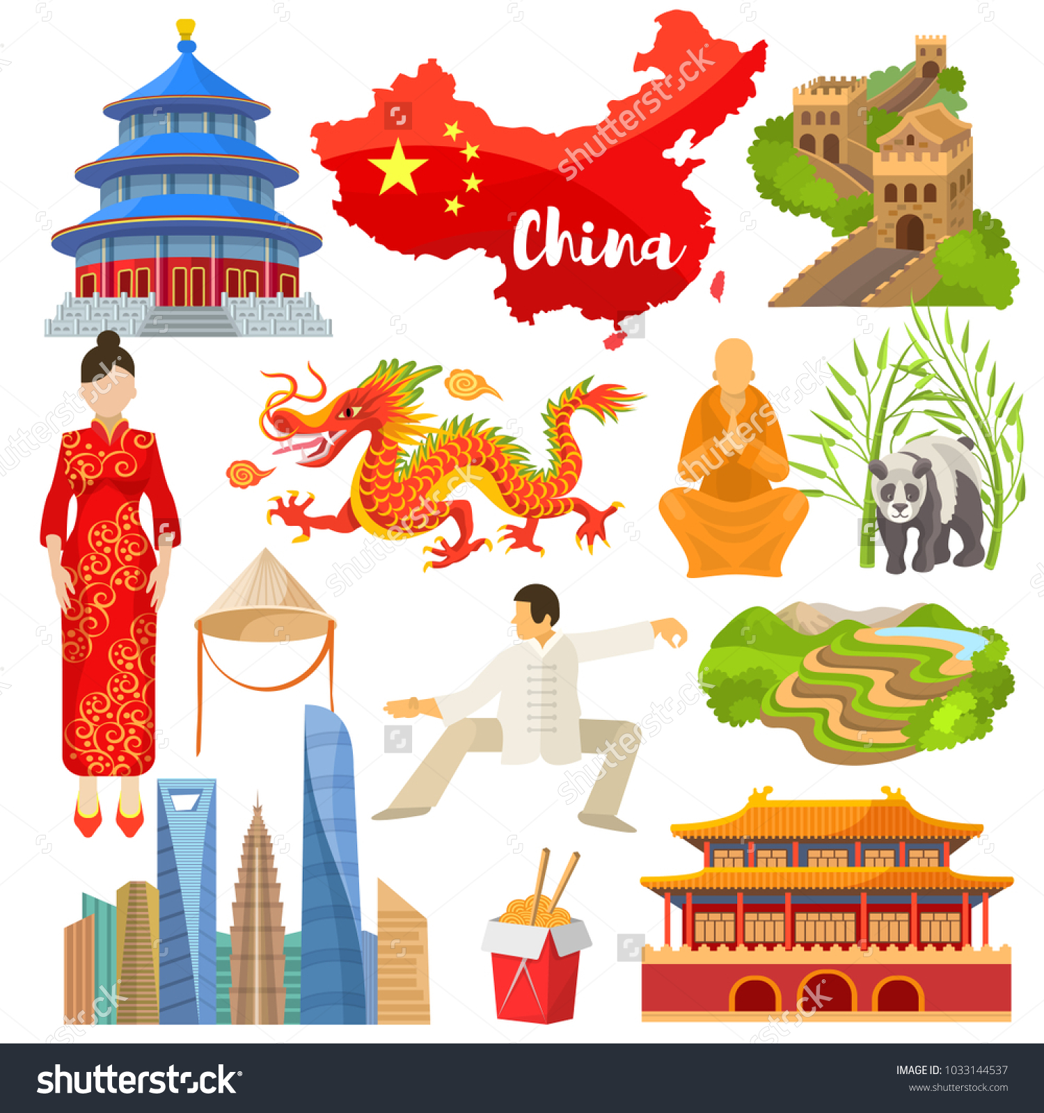 China Vector Chinese Culture Asia Great Stock Vector 1033144537