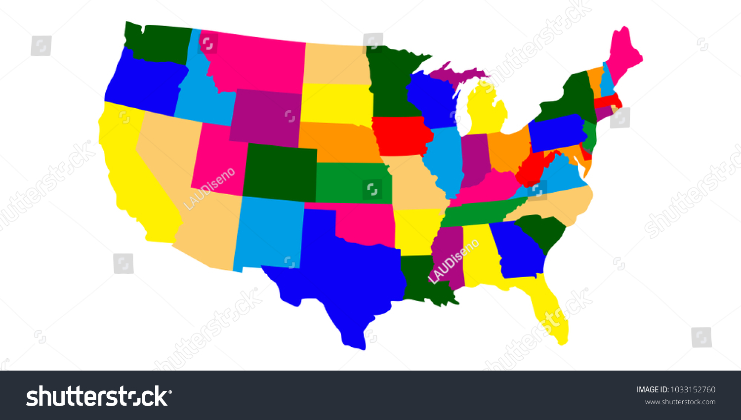 A Political Map Of The United States.Political Map United States Stock Vector Royalty Free 1033152760