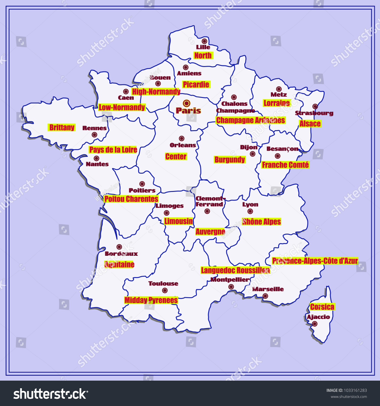 Map Of Major Cities In France.Map France Bright Illustration Map Illustration Stock Illustration