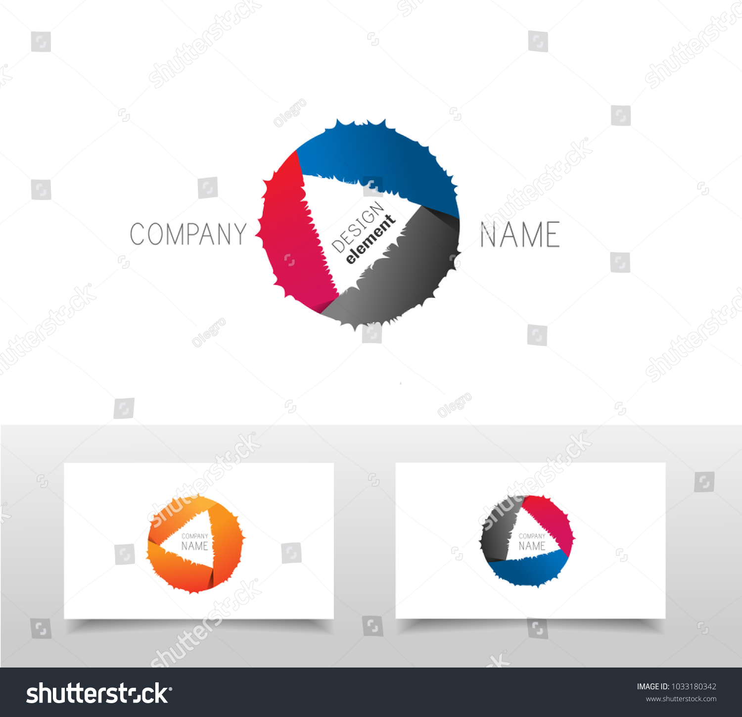 Circle design triangle inside logo template stock vector 1033180342 circle design with triangle inside logo template with business card template ctor buycottarizona Image collections