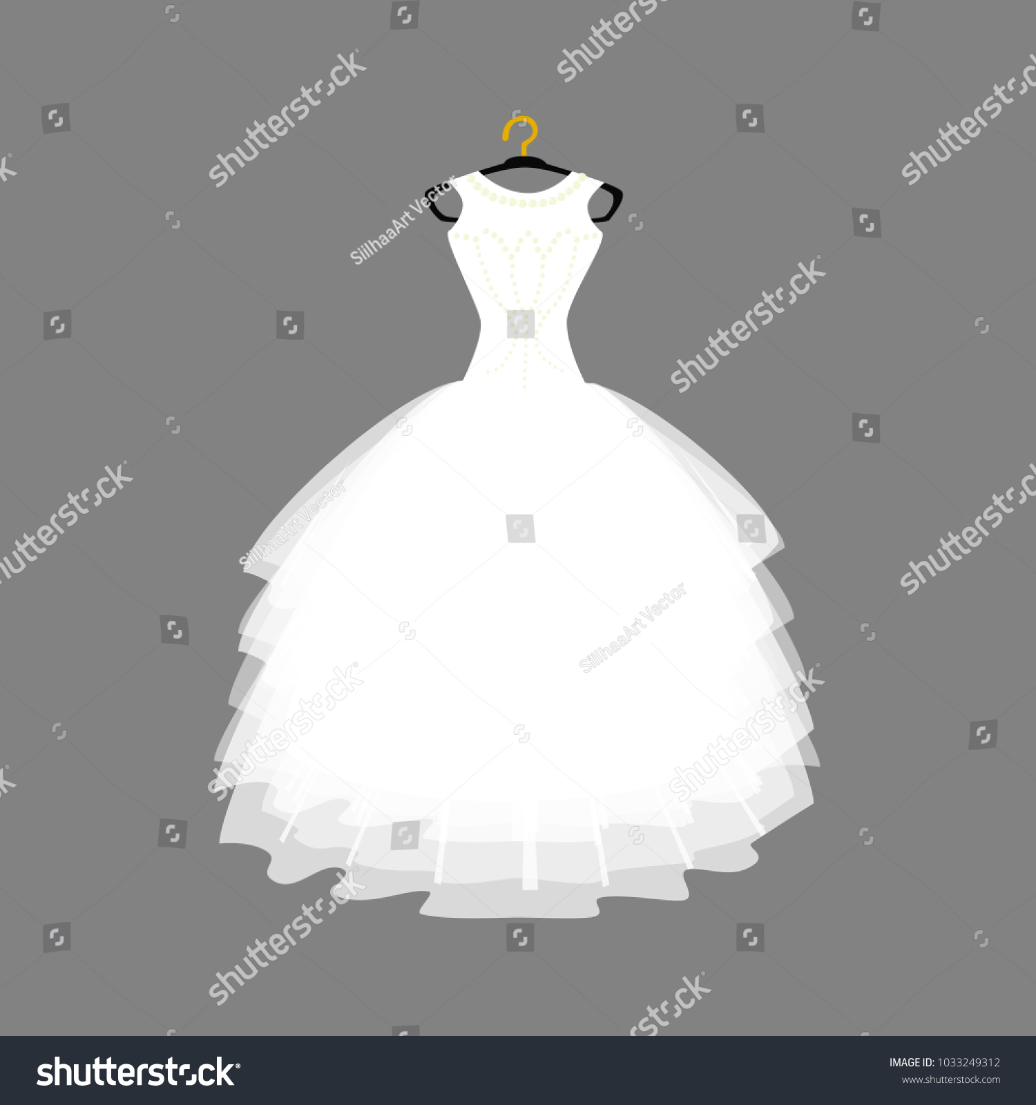 Vector of Ball Gown Long on Hanger Wedding Gown Illustration on Grey Background