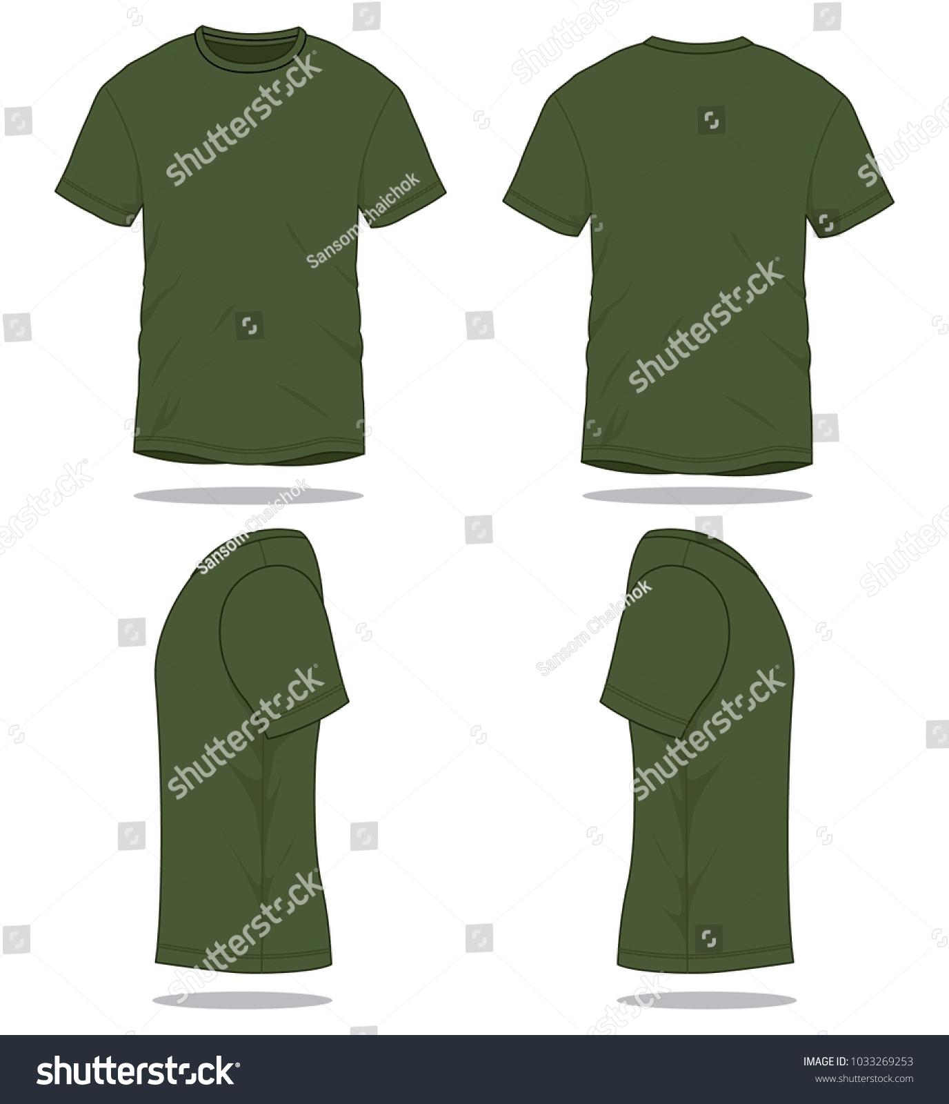 set olive green t shirt vector stock vector royalty free