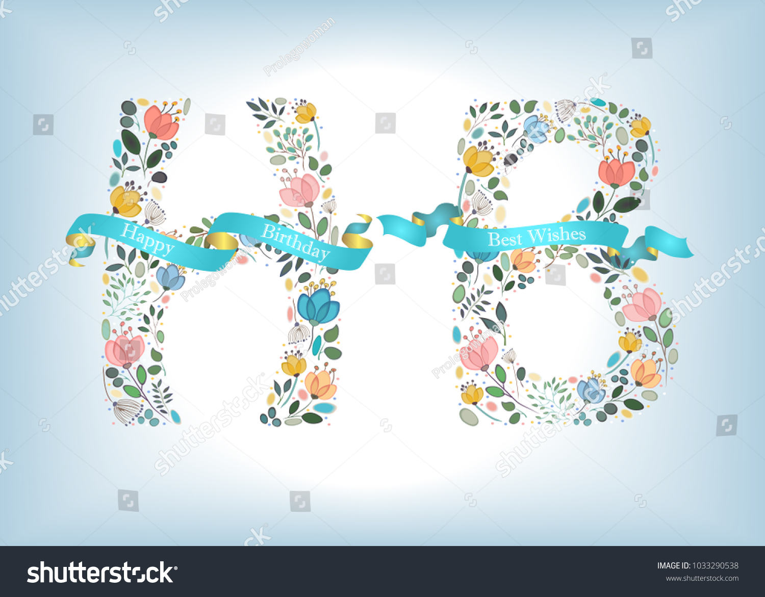 happy birthday floral letters h and b watercolor graceful flowers and plants blue