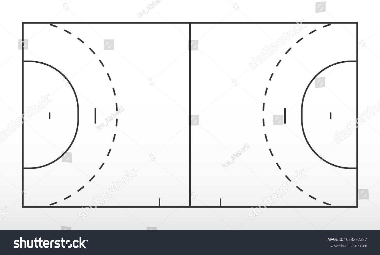 field for handball  outline of lines handball field  vector illustration