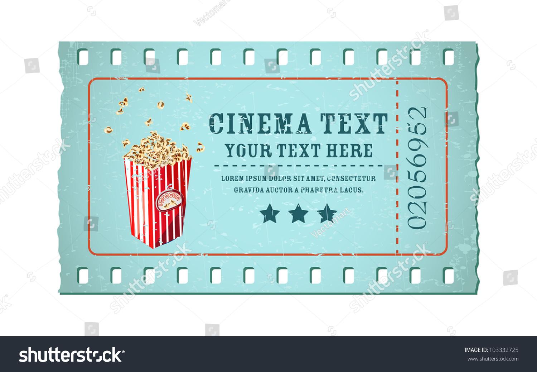 Illustration Movie Ticket Shape Film Reel Stock Vector