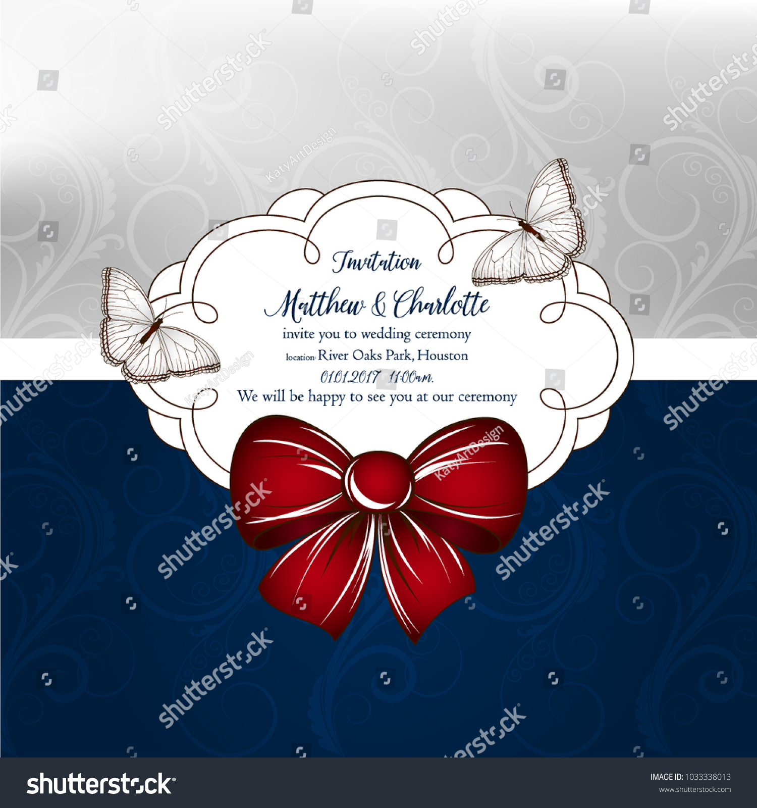 Cute Wedding Invitation Floral Curls Bow Stock Vector (Royalty Free ...
