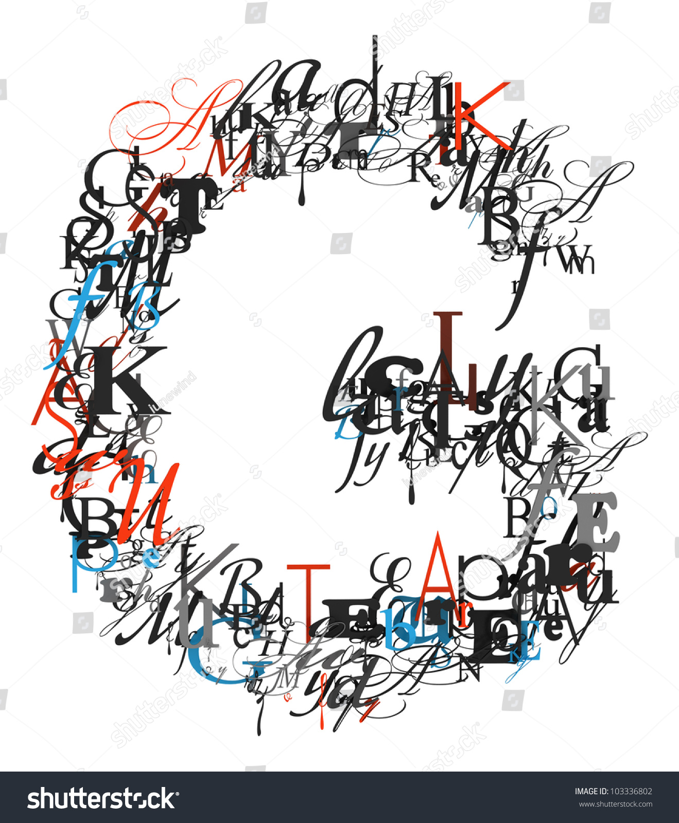 letter g alphabet from different font letters stock photo