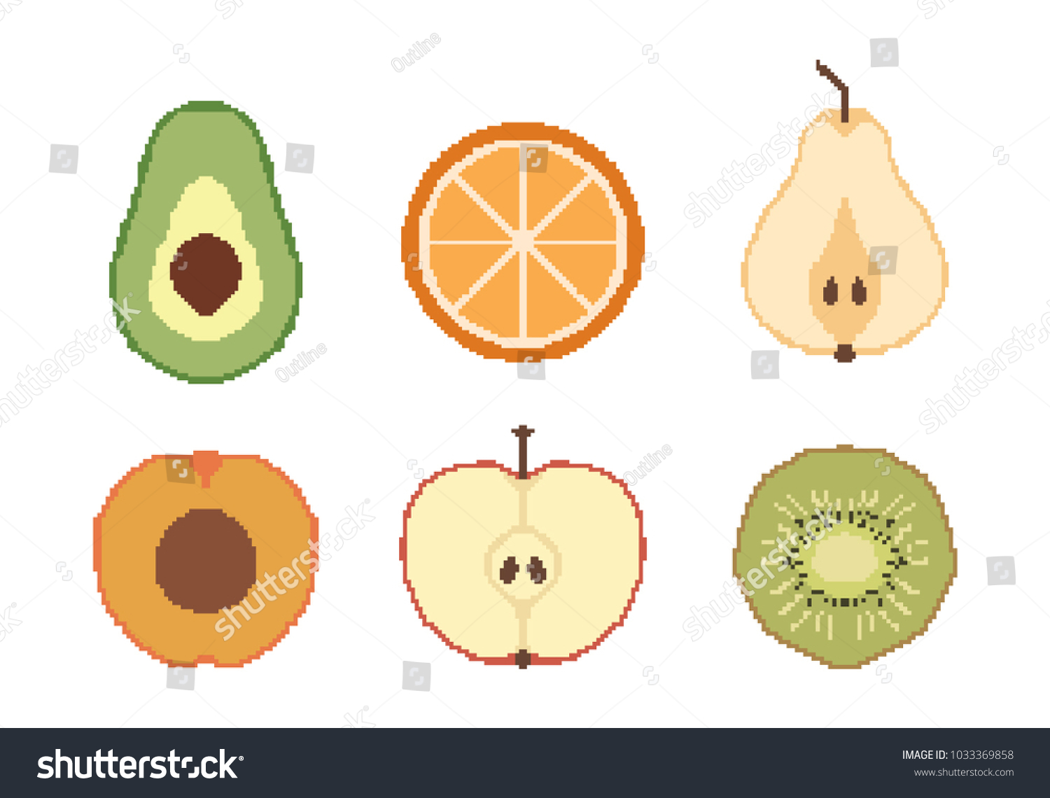 Fruit Pixel Art Icons Set Vector Stock Vector Royalty Free