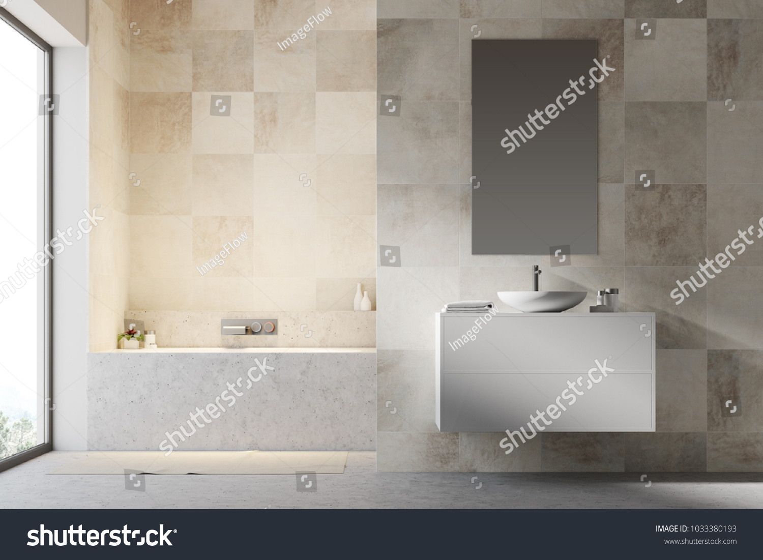 White Tiled Bathroom Interior Concrete Floor Stock Illustration ...