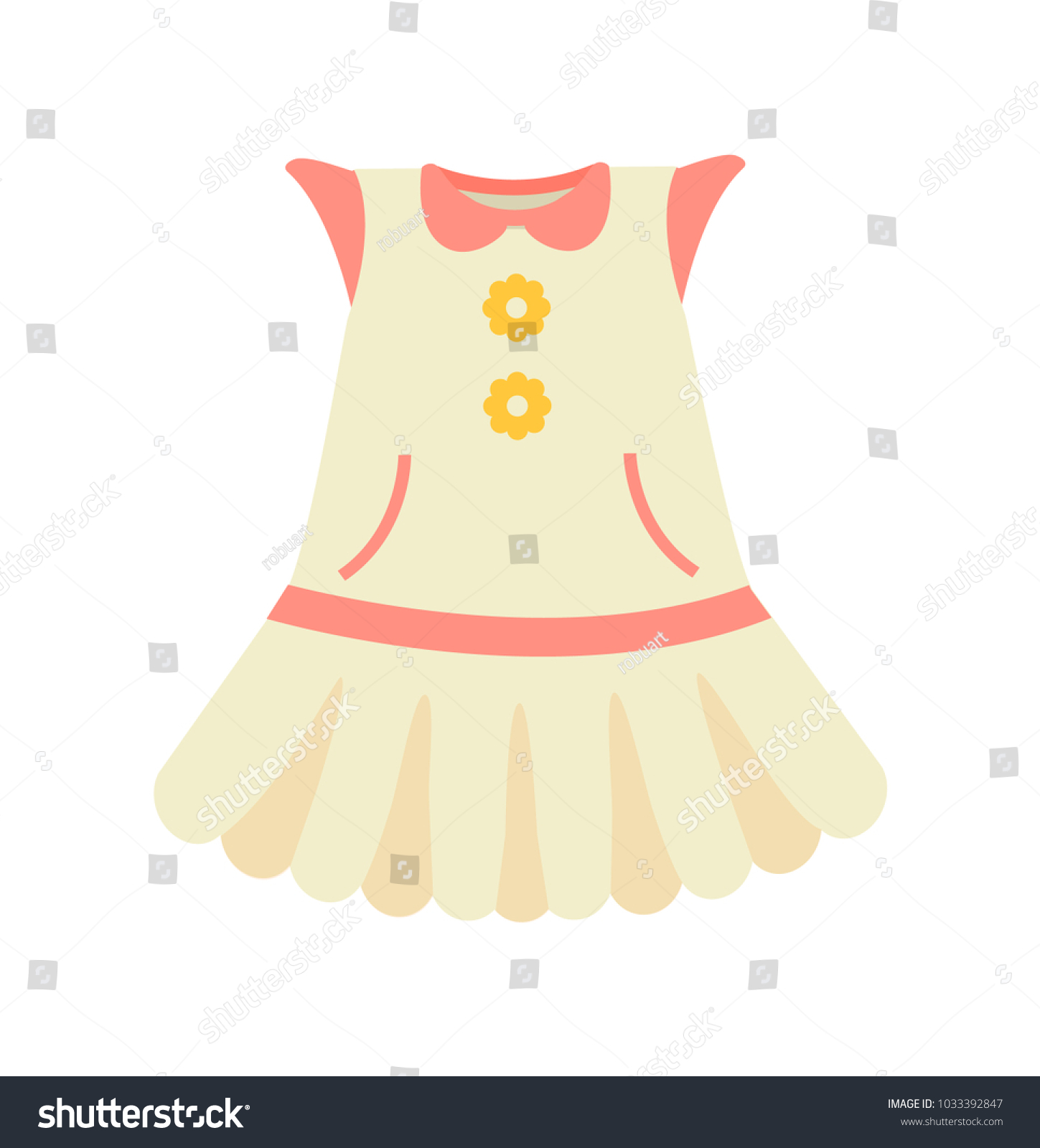 Baby Clothes Dress Pink Color Poster Stock Vector
