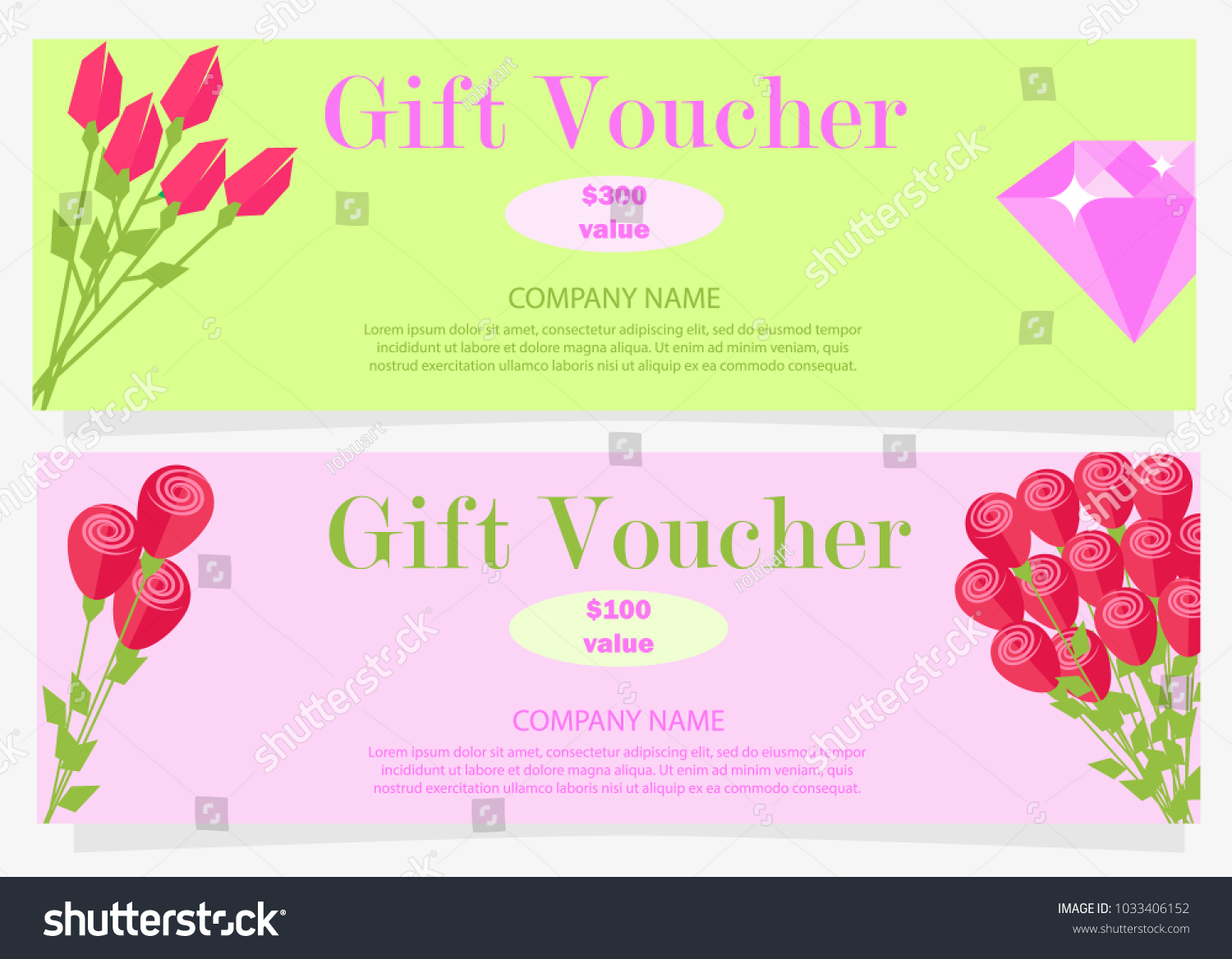 Two Gift Vouchers Red Flowers Pink Stock Vector Royalty Free