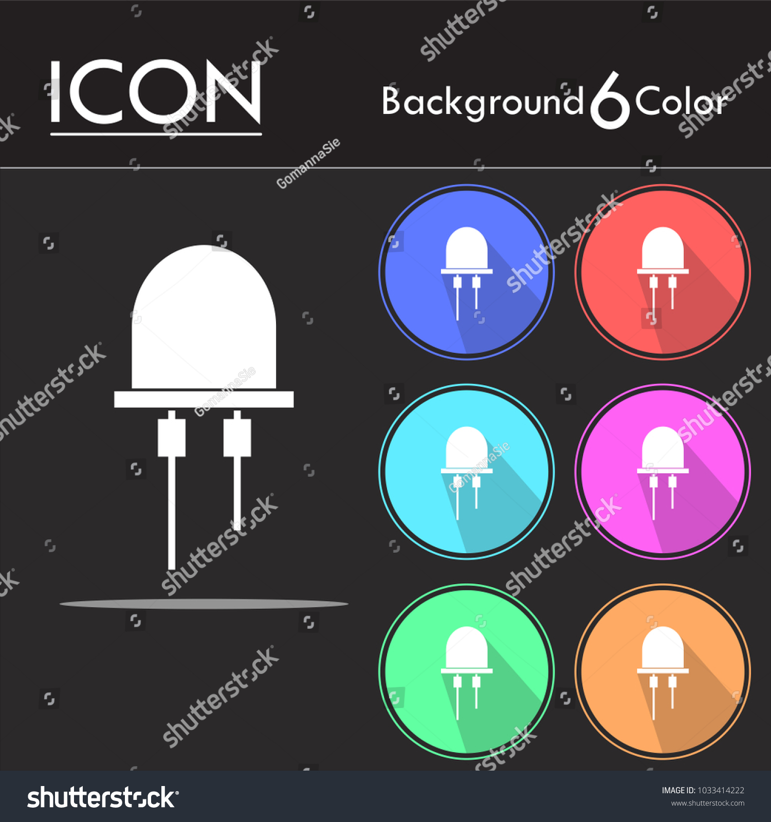 Led Icon Vector Light Emitting Diode Stock Royalty Free Diagram Isolated On Six Color Background