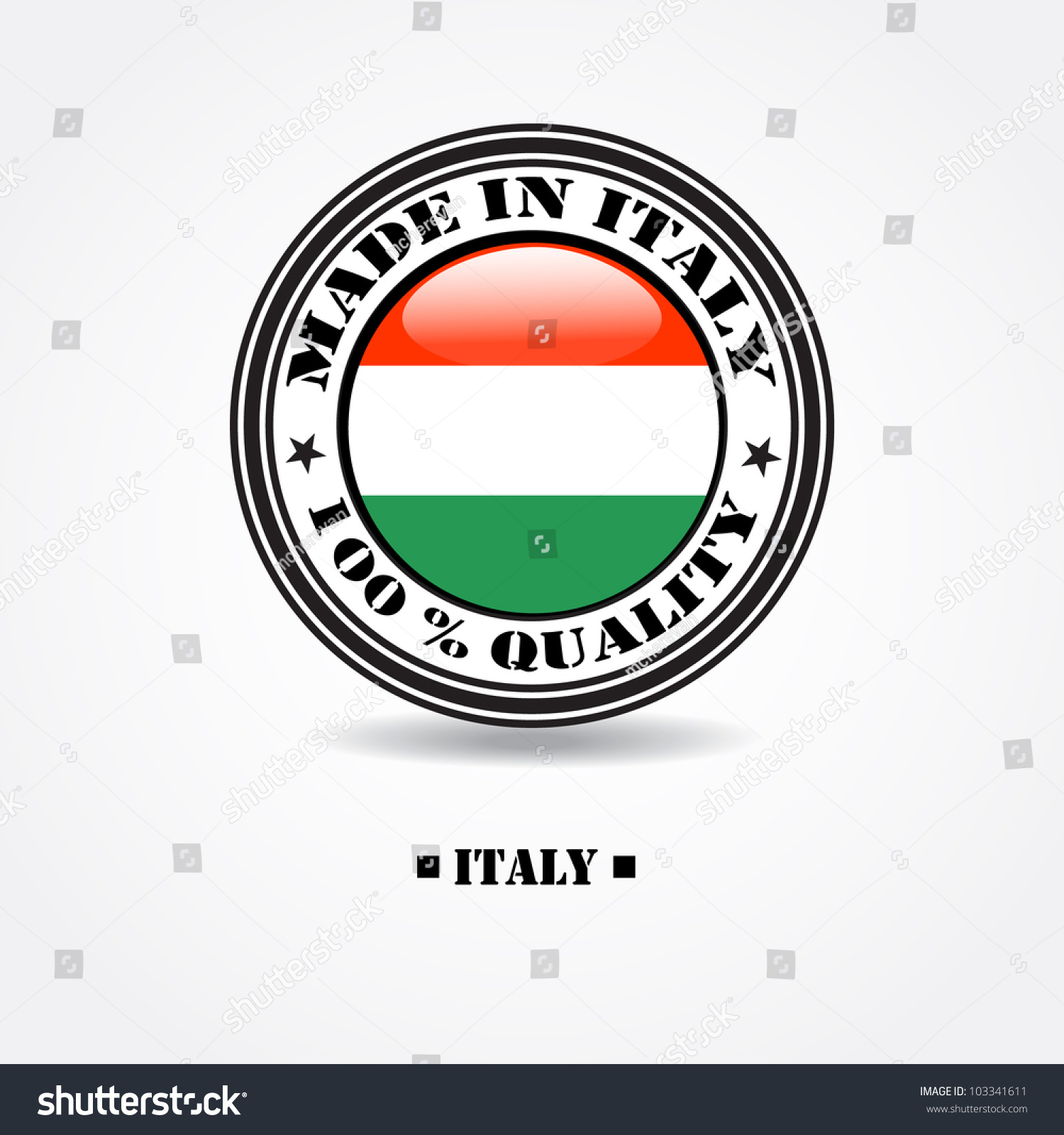 """Label """"Made In Italy 100% Quality"""" With Italian Flag In ..."""