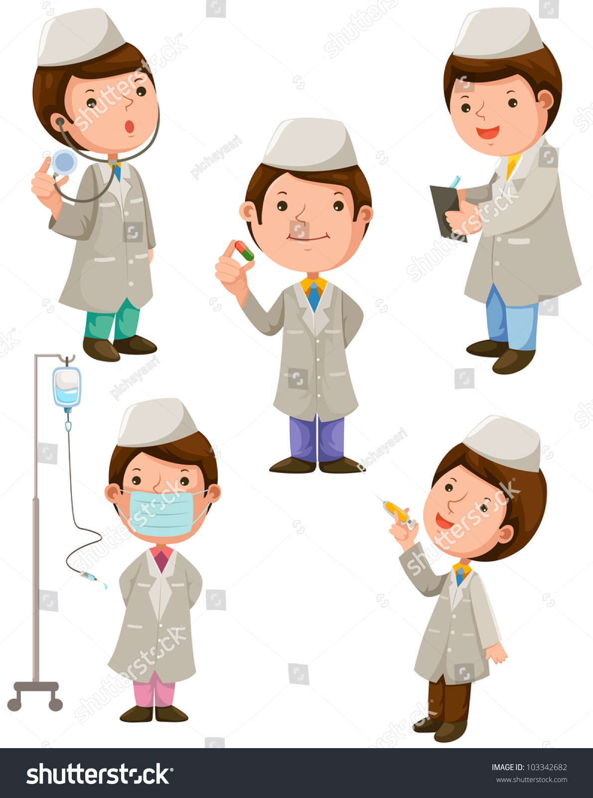 Group Of Doctors Clipart Illustration Isolated ...