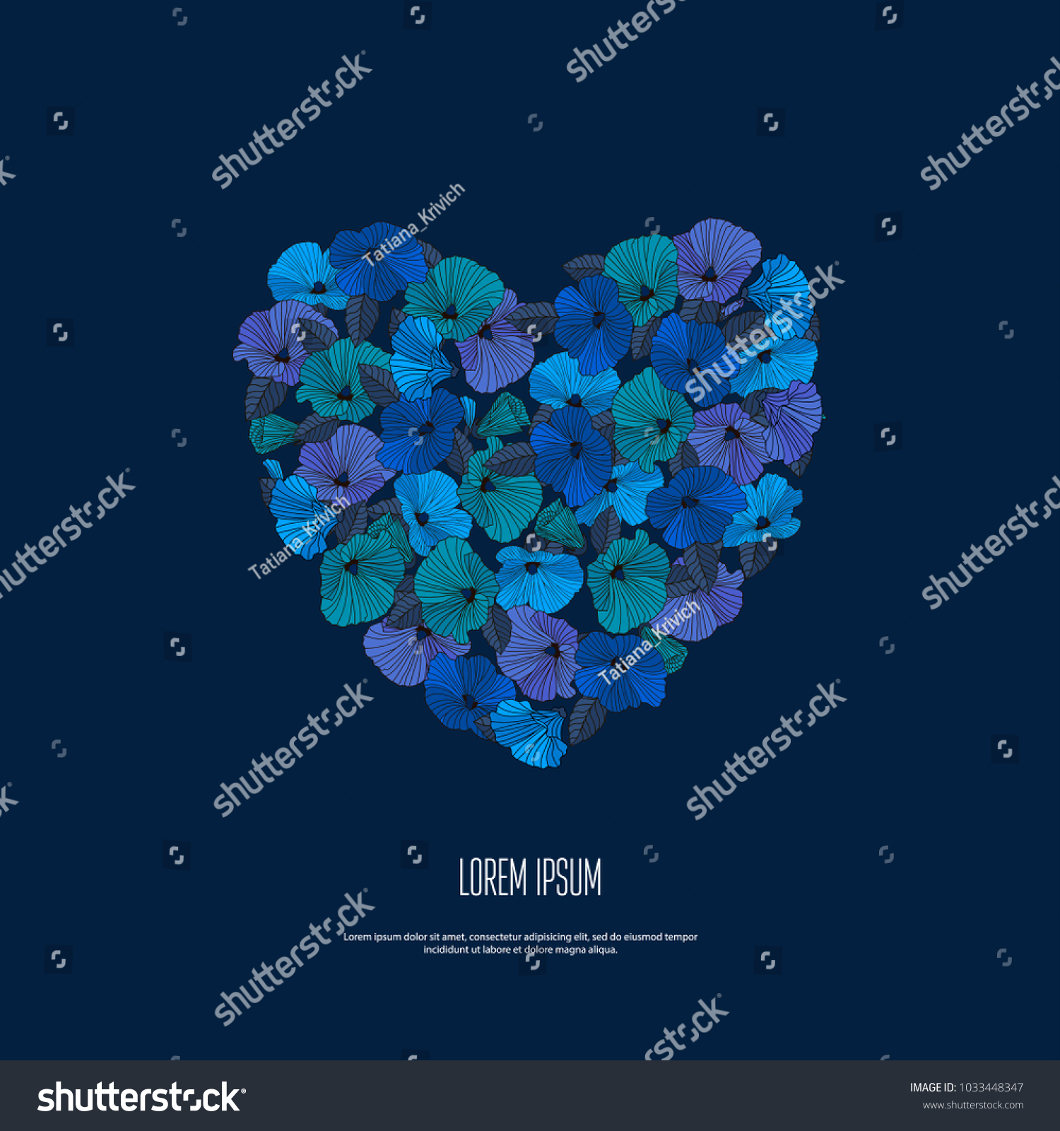 Romantic card garland abstract blue flowers stock illustration romantic card garland of abstract blue flowers with contours on dark background in shape of izmirmasajfo