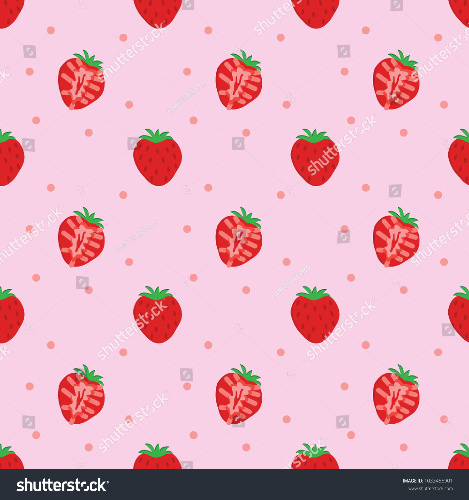 Seamless Strawberry Pattern Background Wallpaper Isolated On Pink