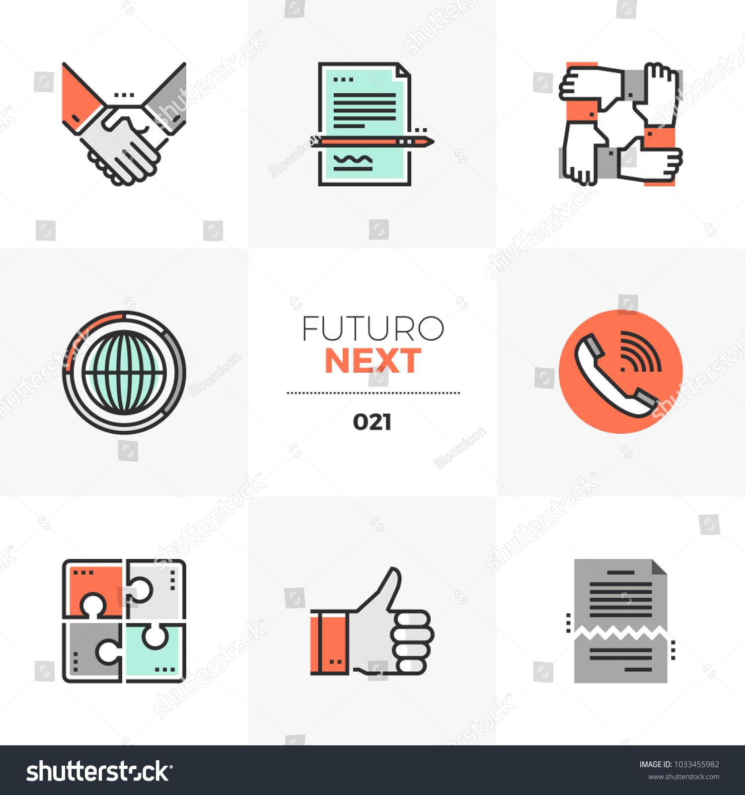 modern flat icons set business agreement のベクター画像素材