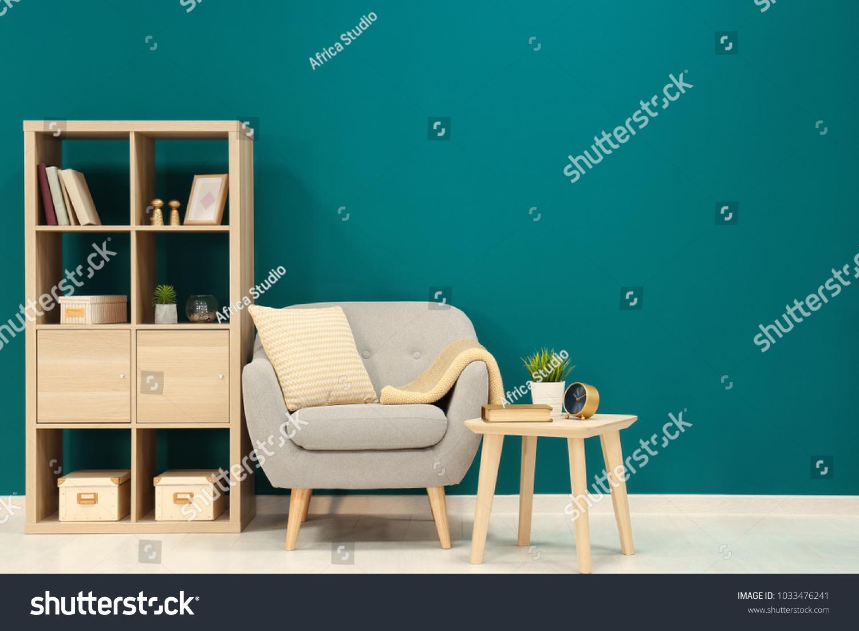 Trendy Living Room Interior Comfortable Armchair Stock Photo Edit Now 1033476241