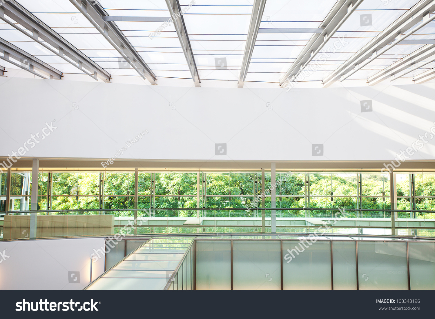 high tech interior of a modern office building stock photo