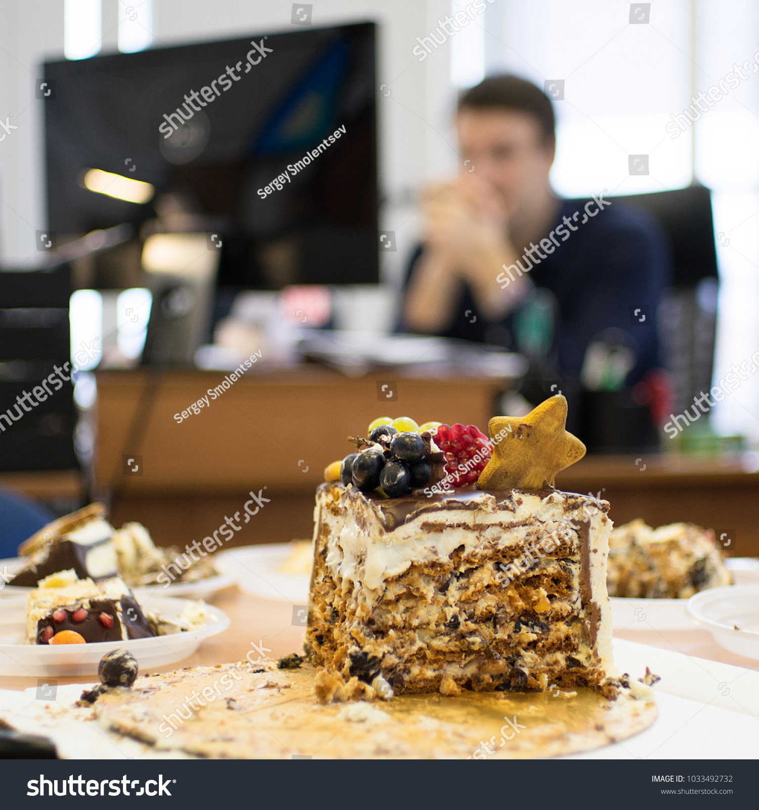 Last Piece Birthday Cake Holiday Office Stock Photo Edit Now