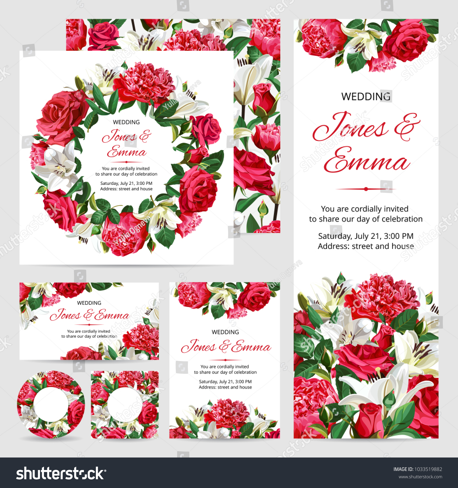 Set Wedding Invitations Red White Flowers Stock Vector (Royalty Free ...